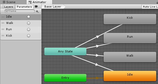 トグルでアニメーションを切り替えるサンプルのAnimatorController