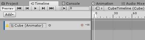AnimationTrackにCubeのAnimatorを設定