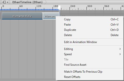 タイムラインのアニメーションクリップの項目