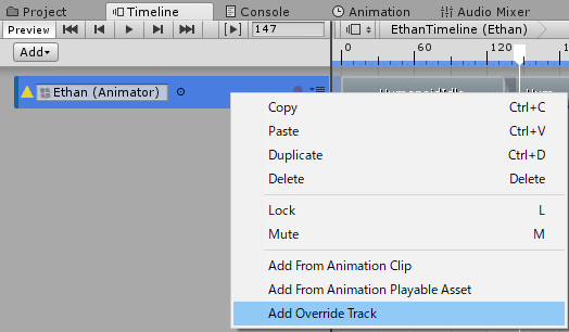 TimelineのOverride Track