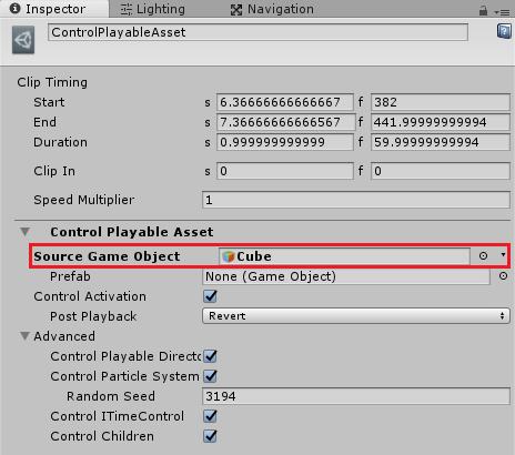 ControlPlayableAssetClipのインスペクタでタイムラインのゲームオブジェクトを設定