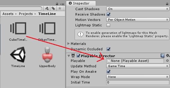タイムラインアセットをPlayableDirectorのPlayableに設定