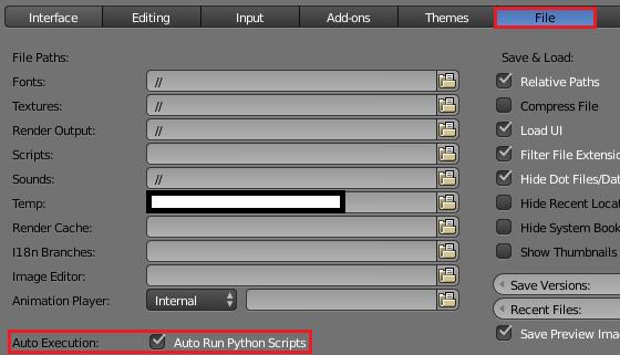 Auto Run Python Scriptにチェックを入れる