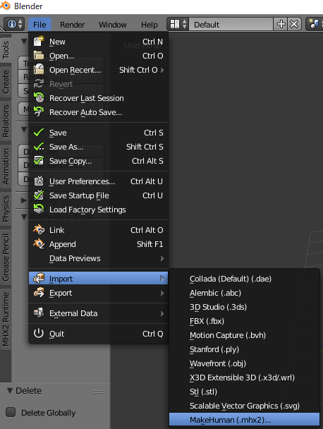 MHX2ファイルをインポート