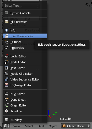 BlenderのUser Preferencesを開く
