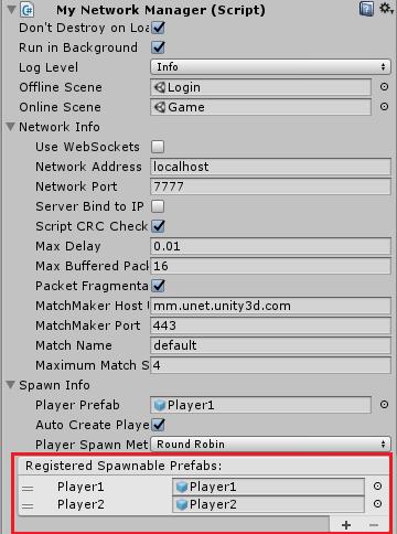 RegisterdSpawnPrefabsに操作キャラクターを設定