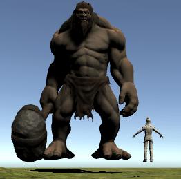 トロールとイーサンの大きさを比較した画像