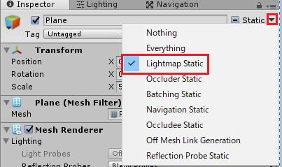 Lightmap Staticにチェックを入れる