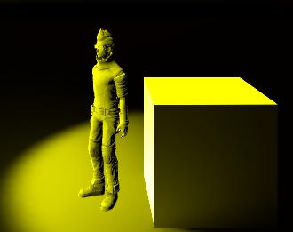 キャラクターをライトの前に移動させるとライトプローブの効果が見れる