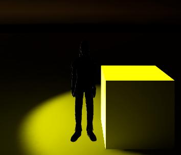 キャラクターをライトの前に移動しても暗いまま