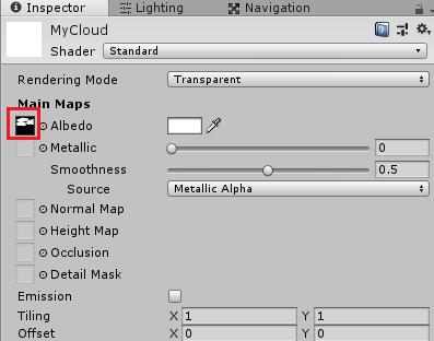 MyCloudマテリアルに空のテクスチャを設定する