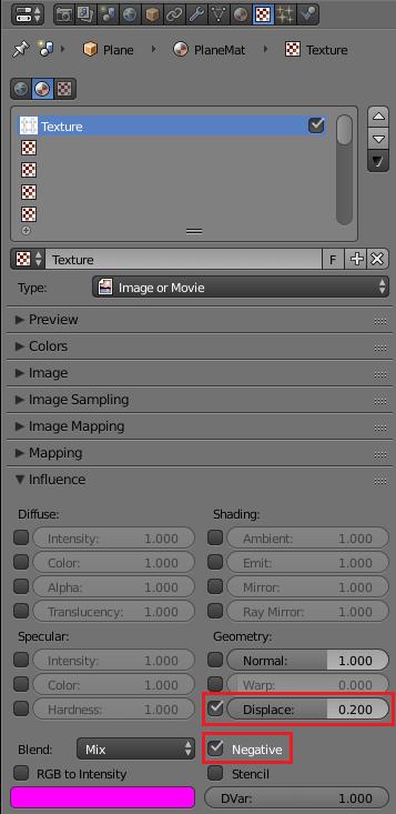 Blenderでのディスプレイスメントマップの設定