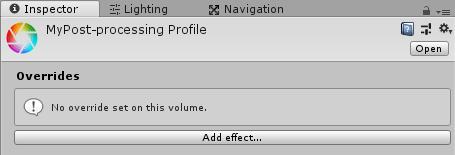 Post-processing Profileのインスペクタ