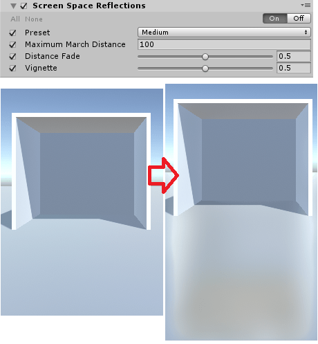 PostProcessingV2ScreenSpaceReflectionsのサンプル