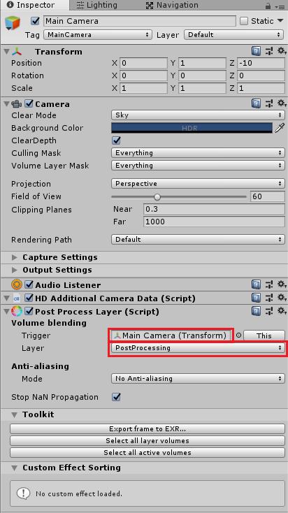 カメラにPost Process Layerを取り付け