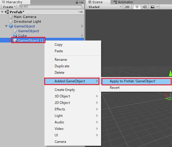 追加したゲームオブジェクトをプレハブに反映
