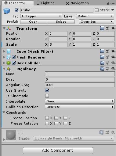 Cubeインスタンスにコンポーネントを追加