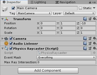 カメラにPhysicsRaycasterを取り付ける