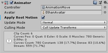 Apply Root Motionにチェックを入れたAnimator
