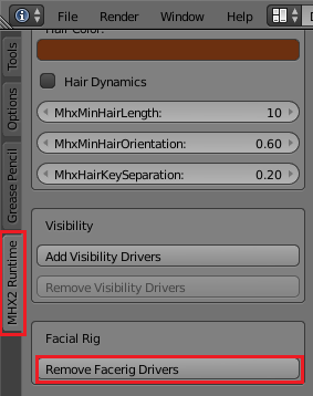 BlenderのMHX2 RuntimeでRemove Facerig Driverボタンを押す