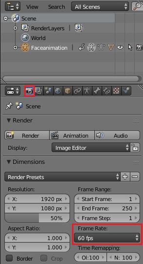 BlenderのフレームレートをUnityに合わせる