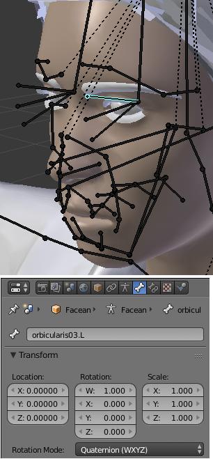 ウインクアニメーションを作成する為のボーンを選択