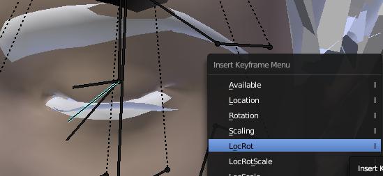 瞼を閉じた状態でLocRotしてキーフレームを打つ