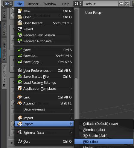 作成したキャラと表情アニメーションをFBXファイルで出力する
