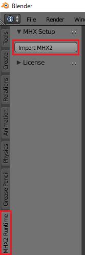 MHX2ファイルをBlenderでインポートする