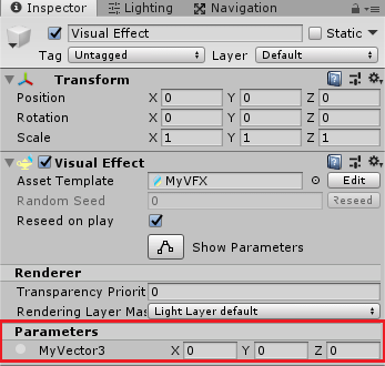 VisualEffectゲームオブジェクトのインスペクタにパラメータが表示された