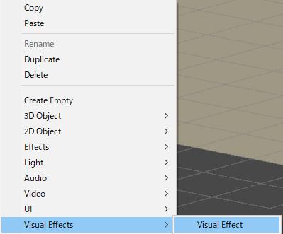 Visual Effectゲームオブジェクトの作成