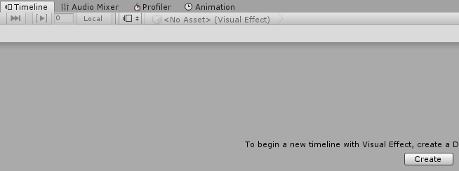 VisualEffectゲームオブジェクトを選択した状態でTimelineのCreateボタンを押す