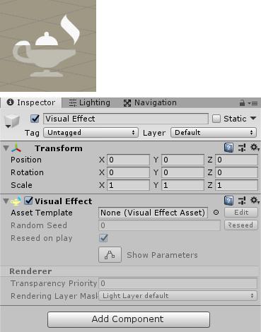 Visual Effectゲームオブジェクトのインスペクタ