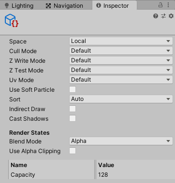 Output Particle Cubeコンテキストのインスペクタ