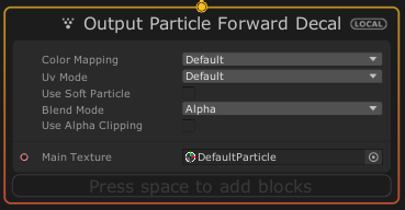 VisualEffectGraphのOutput Particle Forwad Decalコンテキスト
