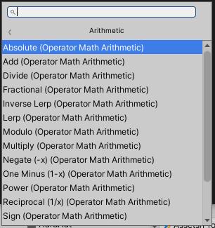 Visual Effect GraphのArithmetic項目