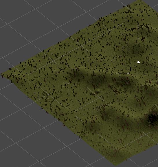 5000個の草を生やしたTerrain