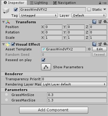 インスペクタ上にVFXのパラメータが表示される