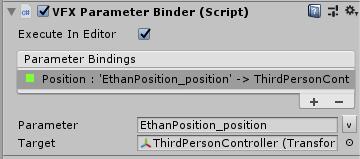 VFX Parameter BinderのTargetにThirdPersonControllerを設定する