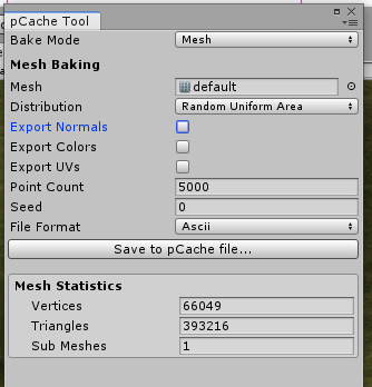 TerrainのメッシュのPoint Cacheファイルを作成する