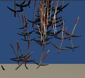 剣が飛び出し地面と衝突したら消えるサンプル画像