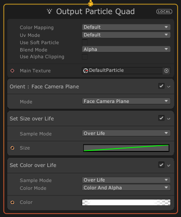 Output Particle Quadコンテキスト
