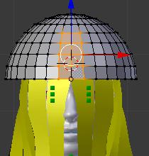 帽子の前面のメッシュを選択