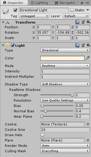 Lightコンポーネントの設定説明用の画像
