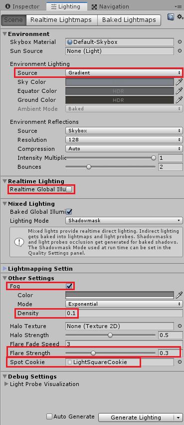 LightingウインドウのサンプルのSceneタブの設定