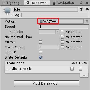 ユニティちゃんのIdle状態にWAIT00アニメーションクリップを設定