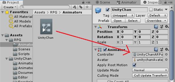 UnityChanのAnimatorにUnityChanアニメーターコントローラーをドラッグ&ドロップする