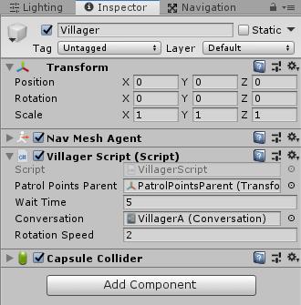 ユニティちゃんRPGのVillagerScriptの設定