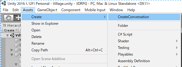 UnityメニューからConversationファイルを作成する方法