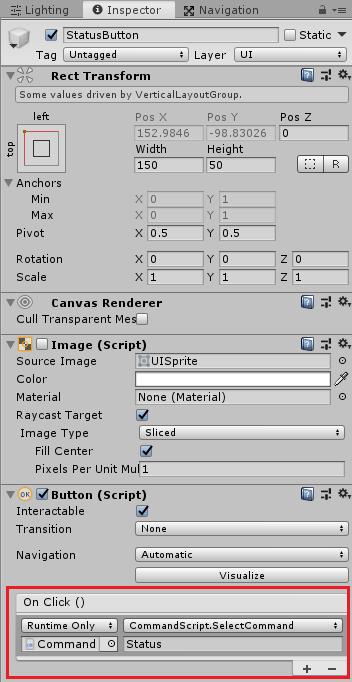 ユニティちゃんRPGのStatusButtonを押した時に実行するメソッドを設定